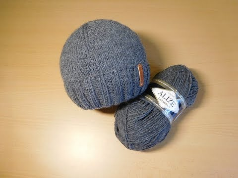 Шапка с отворотом вязание спицами мужская шапка