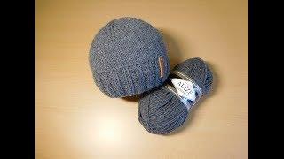 Двойная мужская шапка с отворотом спицами. Мастер-класс.