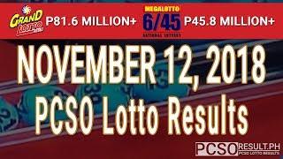 PCSO Lotto Result Today November 12, 2018 (6/55, 6/45, 4D, Swertres, STL & EZ2)
