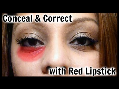 Cover and Conceal Dark Under Eye Circles w/ Red Lipstick  │ Red Lipstick Concealer & Correcter Hack