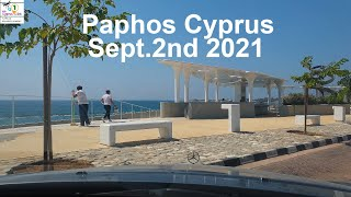 Sept 2nd 2021 Paphos Cyprus Seafront hotels road to Paphos Harbour 4K