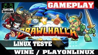 Tutorial e game play Brawlhalla no Linux