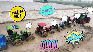 Preet, Arjun, New Holland and SW E351 Tractor Models in Mud with Rotaviter