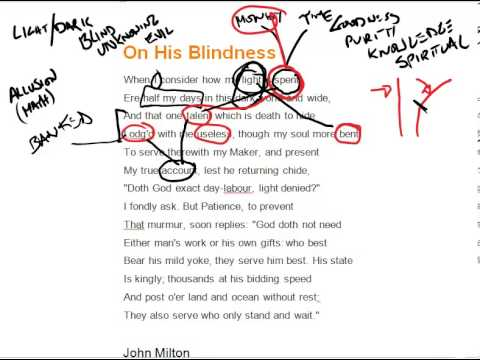 on his blindness by john milton  on his blindness by john milton