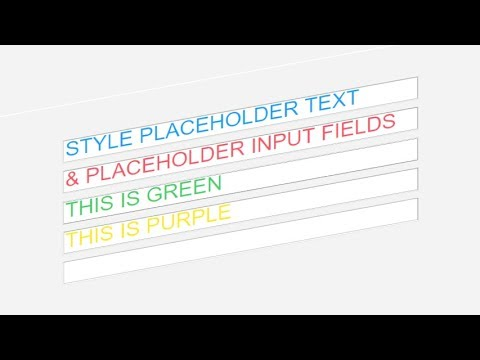 Setting Place Holder Color And Other Properties Using CSS