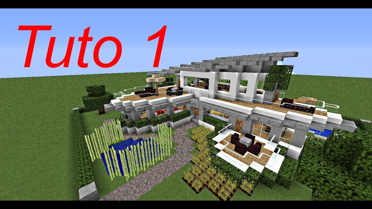 Minecraft tutoriel maison moderne 1 3 youtube for Belle maison minecraft