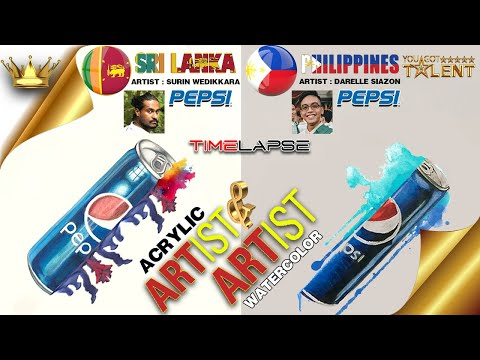 Pepsi realistic painting done by two artists using acrylic and watercolor | You Got Talent