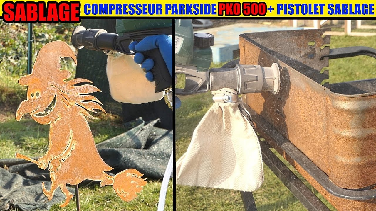 Pistolet De Sablage Lidl Parkside Compresseur Pko 500 Acier Décaper Rouille Sableuse