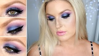 purple blue smokey eyes using bh cosmetics eyeshadow