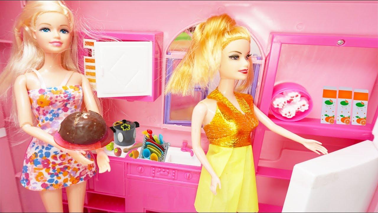 Mainan Masak Masakan Barbie Masak Mainan Anak Perempuan Mainan Barbie Barbie Kitchen Cake Toys Youtube