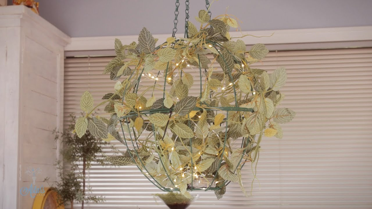 How to Make Christmas Wire Basket Hanging Lights - YouTube