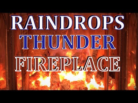 Ambience  fireplace 🔥  gentle rain, raindrops and thunder 8 hours |  Mp3 Download