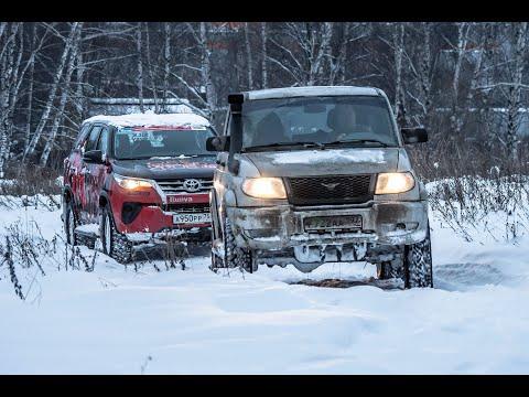 УАЗ Патриот против Toyota Fortuner в снежном баттле на внедорожных шинах