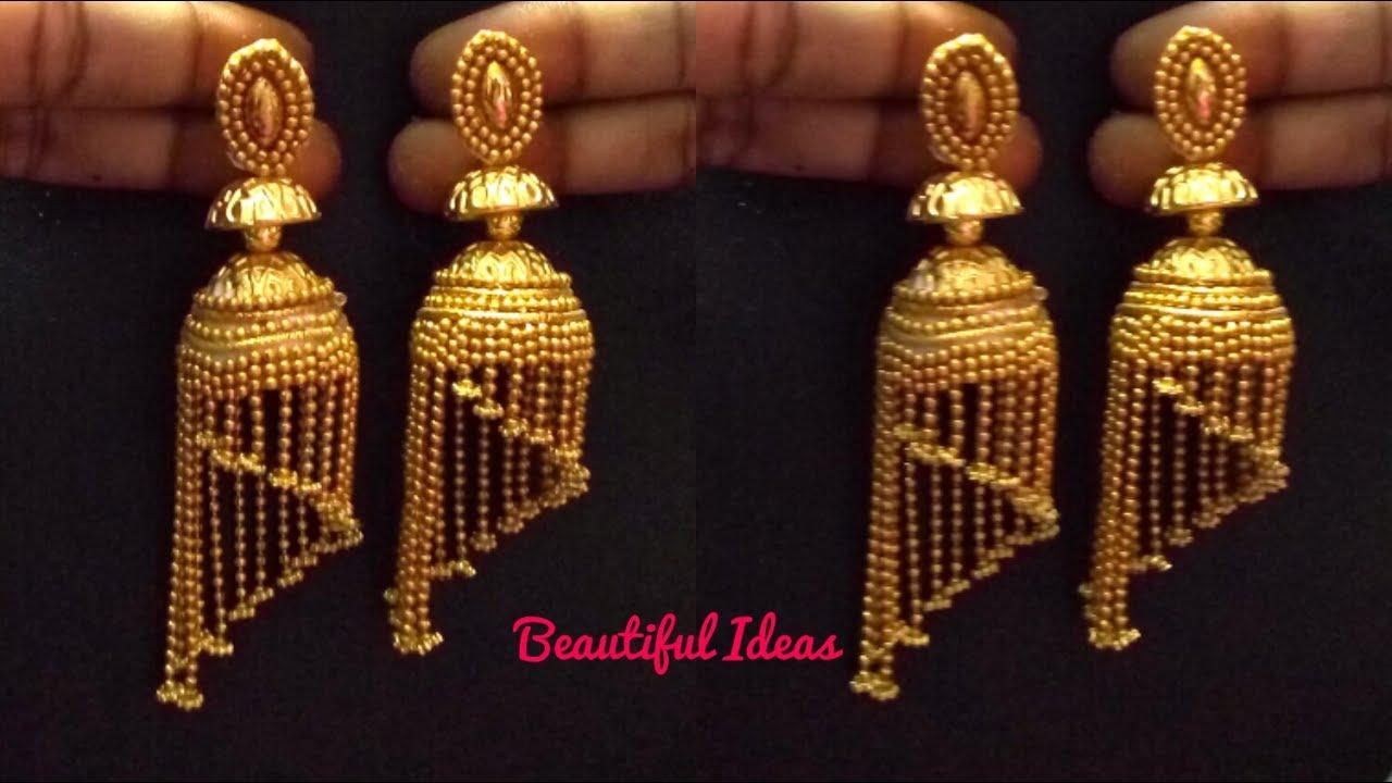 How to Make Silk thread Jhumkas//Modern Gold Jhumkas/South Indian ...