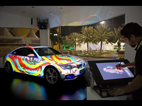 Interactive Car Projection Mapping Live Drawing - Holoteq (making of) at Tennis Federation 2014