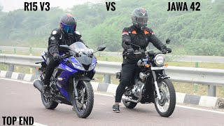 Jawa 42 VS Yamaha r15 v3 Race | Top End | Sport vs Classic
