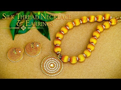 How To Make Beautiful Gold Silk Thread Necklace & Earrings | DIY | Jewelry Making