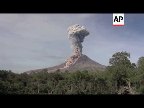 Indonesia's Sinabung volcano spews hot ash
