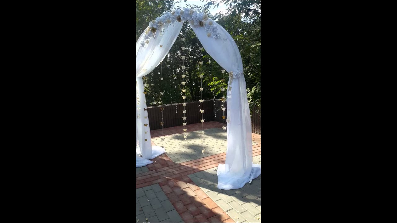 Wedding Arch With Butterfly Crystal And Flowers