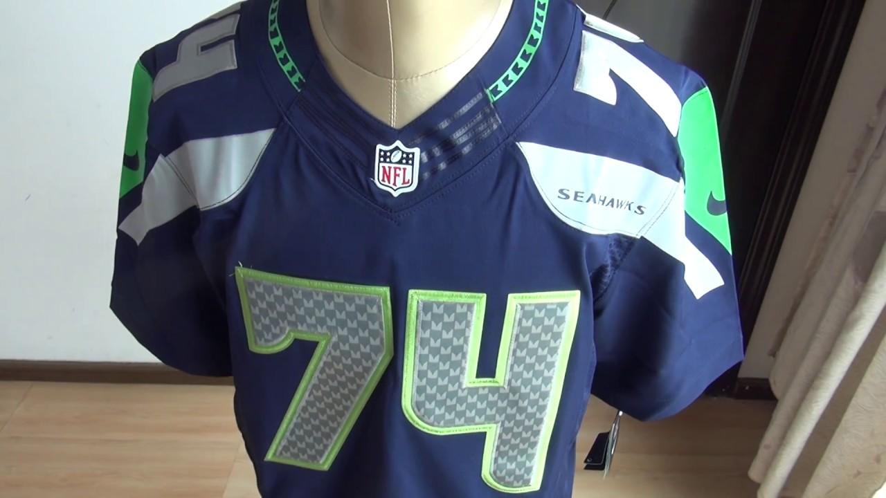 watch 812cd d36a2 NFL Seattle Seahawks Elite 74# IFEDI blue jersey unboxing-jerseys.ru review
