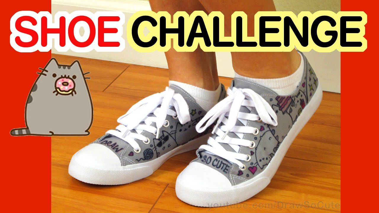 Shoe Art Challenge Draw Color Pusheen Cats On Canvas