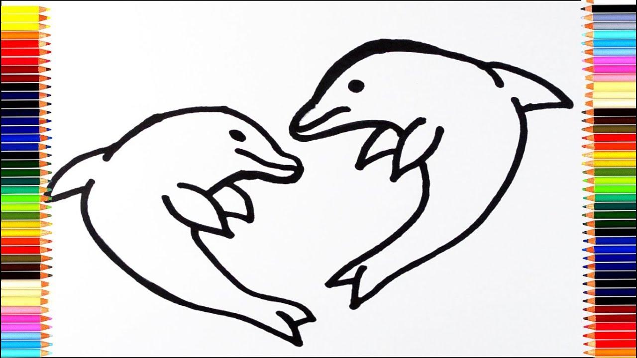 Как нарисовать дельфина / мультик раскраска дельфин для ...