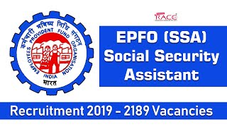 EPFO (SSA) Social Security Assistant Recruitment 2019 | 2189 Vacancies