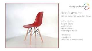 Eames Dining Sidechair Wooden Base (dsw) Red