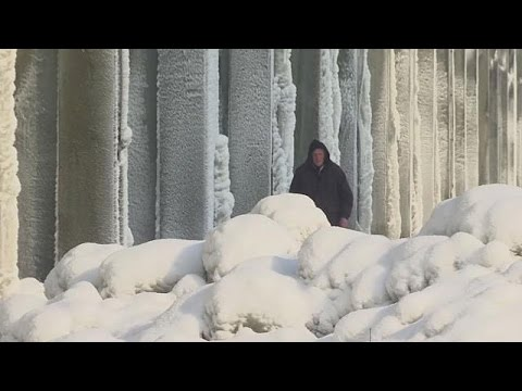 Icicles on Kosovo power plant cooling towers