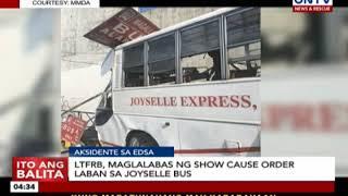 LTFRB, maglalabas ng show cause order laban sa Joyselle bus
