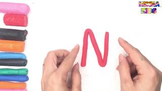Learn Coloring and Drawing The Letter N ✅How To Teach Baby To Speak English