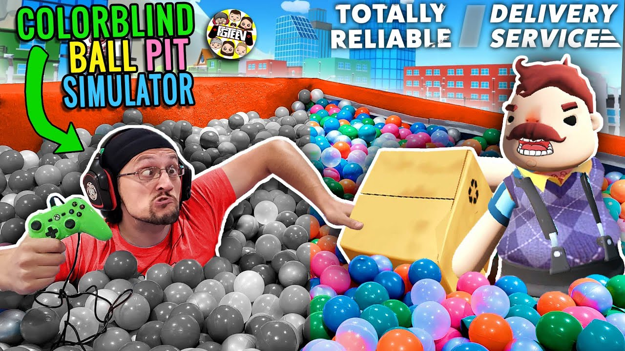 DONT TOUCH THE GREEN!  COLOR BLIND BALL PIT GAME + HELLO NEIGHBOR TOTALLY RELIABLE DELIVERY SERVICE