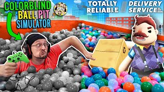 DON'T TOUCH THE GREEN! COLOR BLIND BALL PIT GAME + HELLO NEIGHBOR TOTALLY RELIABLE DELIVERY SERVICE