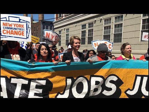 Cynthia Nixon Joins Climate March In NY Capital