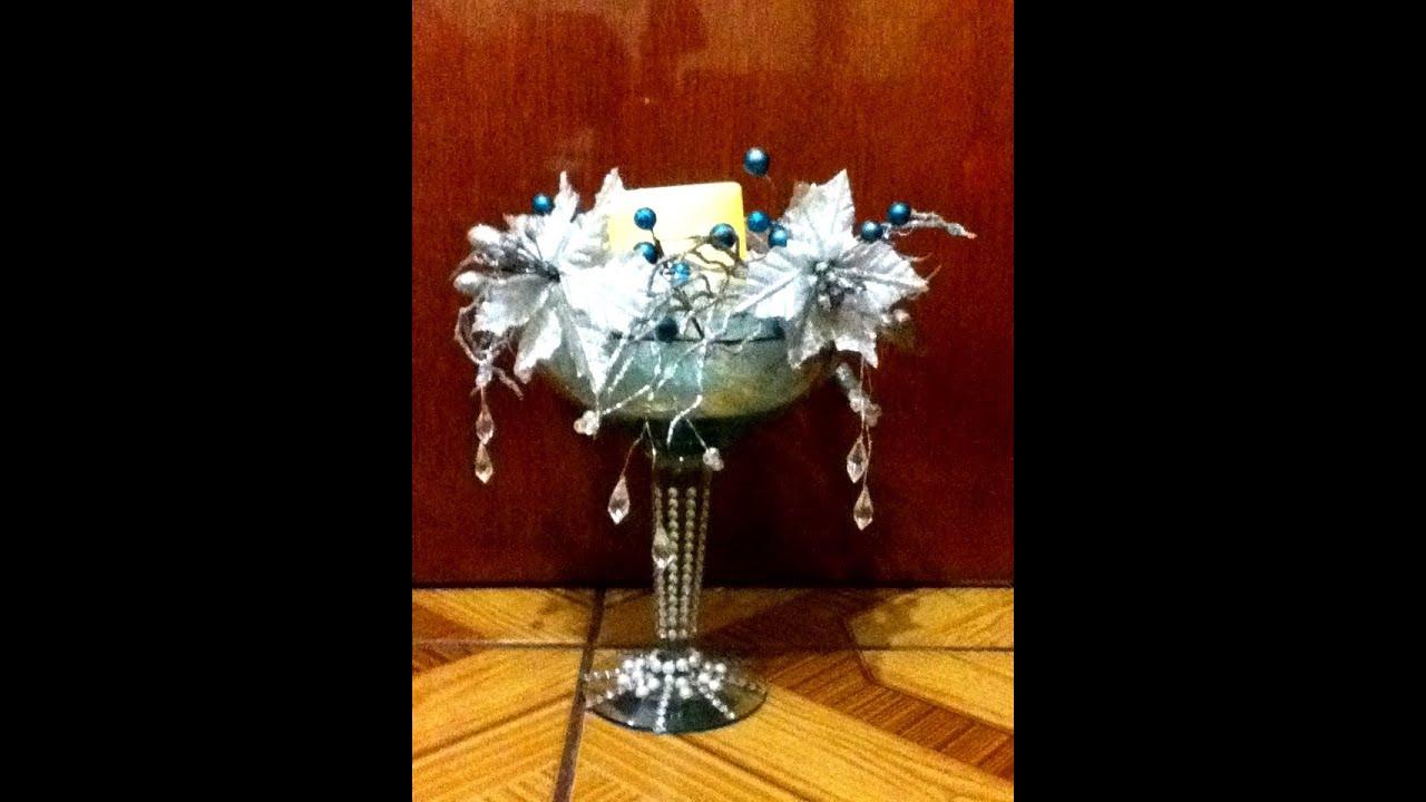 Diy centro de mesa navide o elegante decoracion - Centro navideno de mesa ...