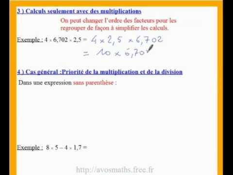 5eme cours de maths sur le calcul d'une expression sans ...