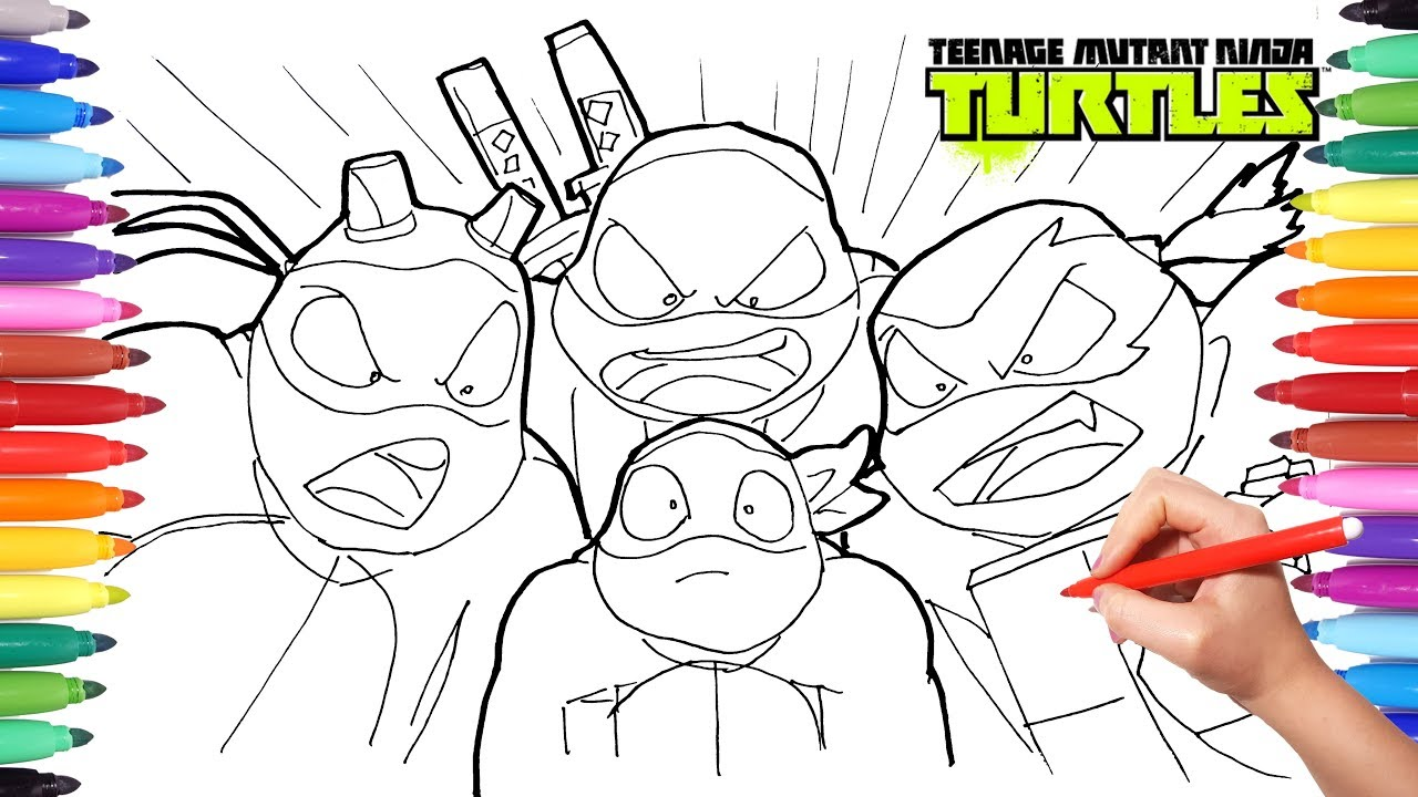 TEENAGE MUTANT NINJA TURTLES Color Book | TMNT Drawing | Leonardo Raffaello  Donatello Michelangelo