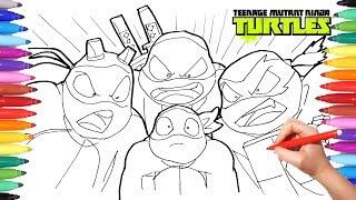 TEENAGE MUTANT NINJA TURTLES Color Book | TMNT Drawing | Leonardo Raffaello Donatello Michelangelo