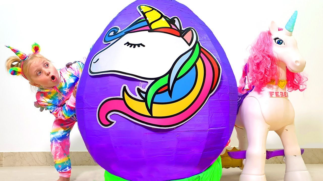 Little Girl and Giant Unicorn Egg with Slime