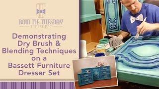 Demonstrating Dry brush and blending techniques on a Bassett furniture Dresser set