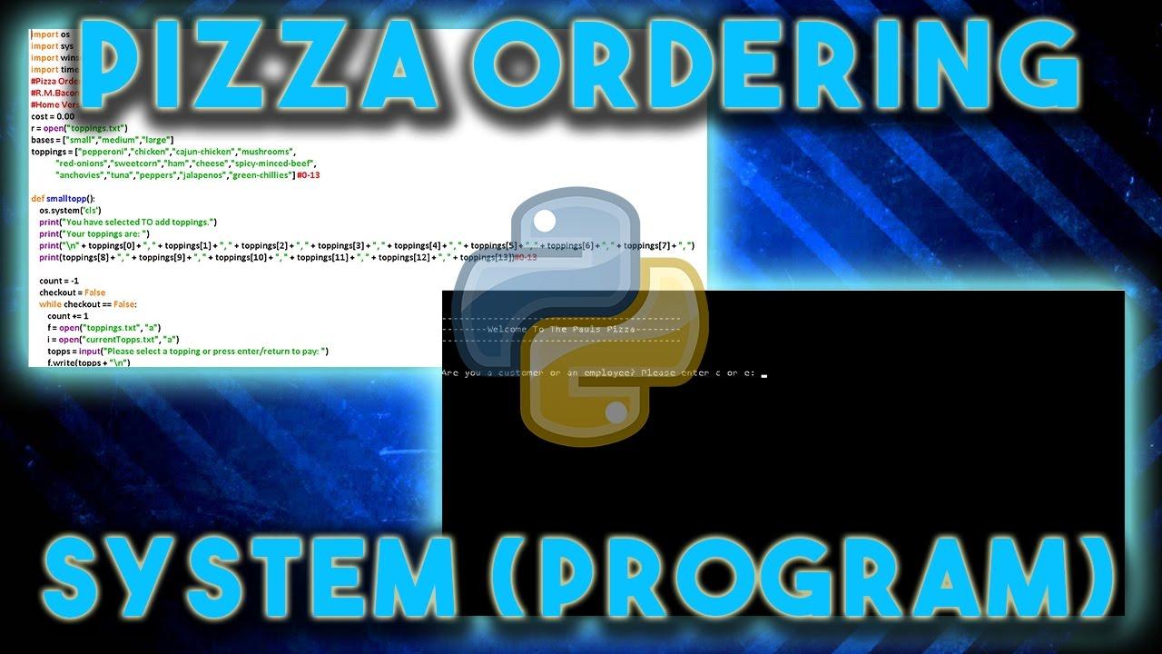 Pizza Ordering Program (System) | Python | Download
