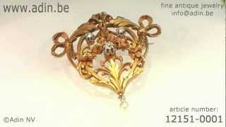 French Antique diamonds Victorian gold brooch pendant with roses (12151-0001)