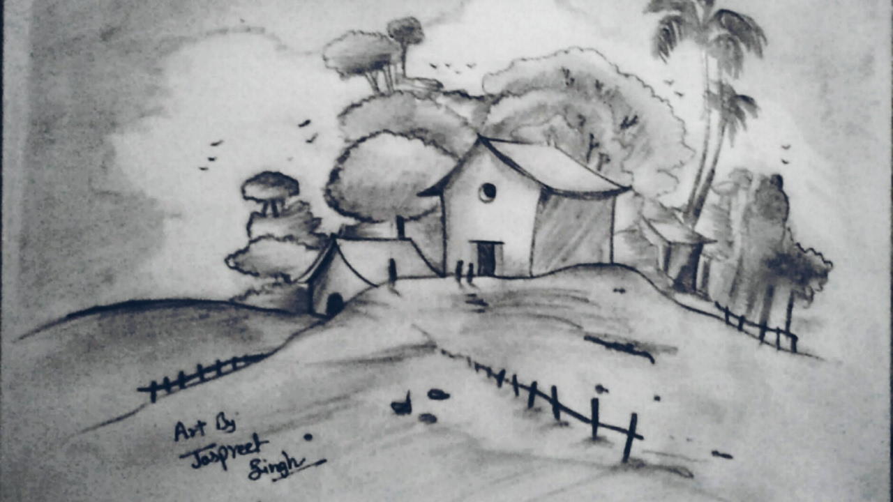 How to draw Easy and Simple Landscape for Begginers with ...