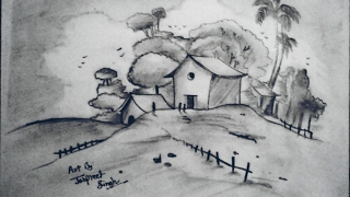 simple landscape drawing landscapes easy draw drawings pencil begginers artist paintingvalley