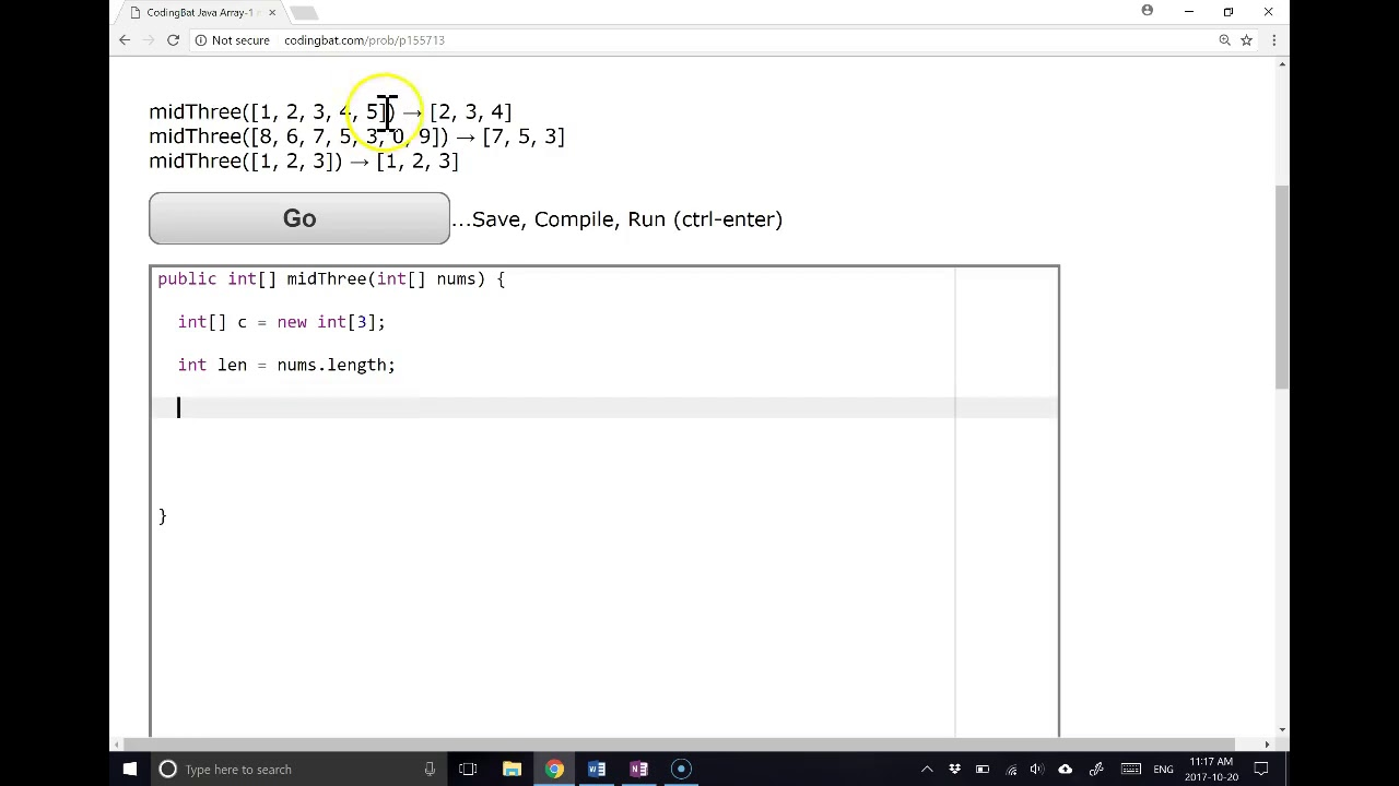 Coding Bat Solutions - Arrays 1 - MidThree