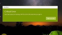 "How to Fix Windows 10 Start Menu Critical Error "" Start menu isn't working..."""