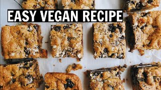 3 INGREDIENT PB & OREO COOKIE BARS - Easy Vegan Recipe
