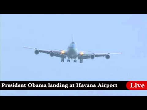 Obama First Visit to Cuba - Air Force One Landing in Havana, Cuba