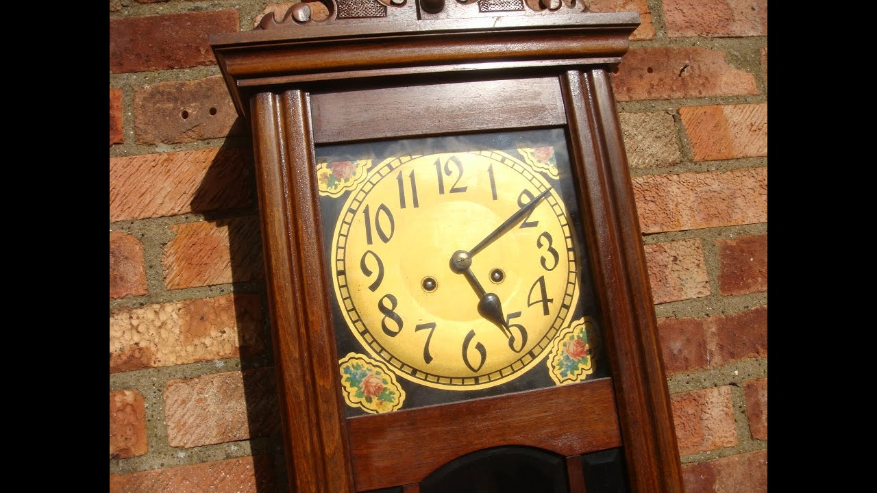 Vintage old antique strike wall clock key pendulum see video vintage old antique strike wall clock key pendulum see video amipublicfo Image collections
