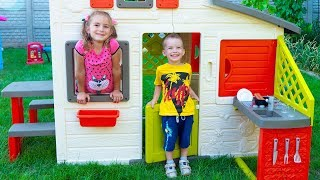 Arthur and Melissa pretend play and build Playhouses for children